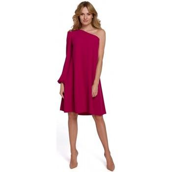 Textil Ženy Krátké šaty Makover K081 Šaty na jedno rameno - švestka
