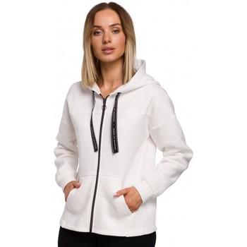 Textil Ženy Mikiny Moe M550 Mikina s kapucí na zip - ecru