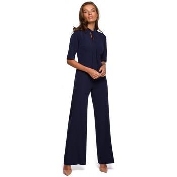 Textil Ženy Overaly / Kalhoty s laclem Style S243 Elegantní overal s vázáním u krku - tmavě modrý