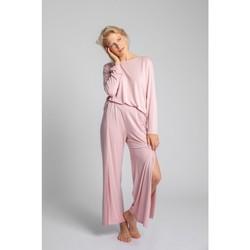Textil Ženy Pyžamo / Noční košile Lalupa LA026 Viskózové kalhoty s vysokými rozparky - růžové