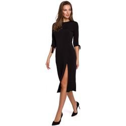 Textil Ženy Krátké šaty Makover K007 Pletené šaty s vázanými rukávy - černé