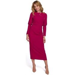 Textil Ženy Společenské šaty Makover K079 Šaty v midi délce s rozdělenými zády - švestka