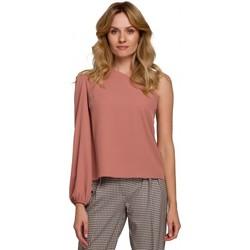 Textil Ženy Halenky / Blůzy Makover K080 Top na jedno rameno - růžový