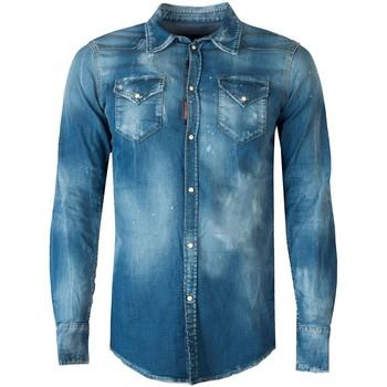 Textil Muži Košile s dlouhymi rukávy Dsquared  Modrá