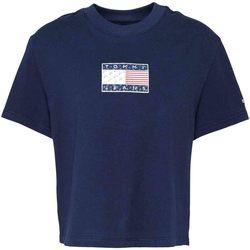 Textil Ženy Trička s krátkým rukávem Tommy Jeans DW0DW08482 Modrý