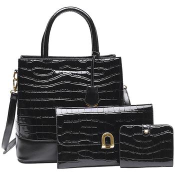 Taška Ženy Kabelky  Made In China Dámský set kabelek kroko 3v1 černá 5093 černá