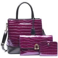Taška Ženy Kabelky  Made In China Dámský set kabelek kroko 3v1 purpurová 5093 fialová / bordó