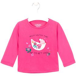 Textil Dívčí Trička s dlouhými rukávy Losan 026-1008AL Růžový