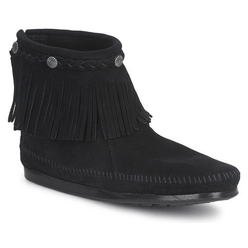 Boty Ženy Kotníkové boty Minnetonka HI TOP BACK ZIP BOOT Černá