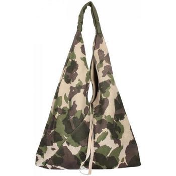 Taška Ženy Tašky přes rameno Borse In Pelle Kožená velká dámská kabelka Alma maskáčová multicolor zelená