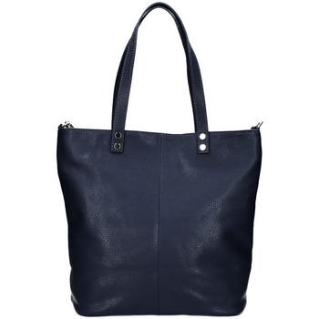 Taška Ženy Tašky přes rameno Borse In Pelle Kožená velká dámská shopper kabelka Juliette tmavě modrá modrá