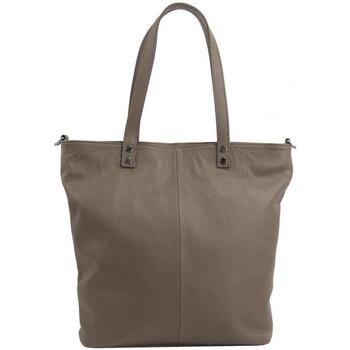 Taška Ženy Velké kabelky / Nákupní tašky Borse In Pelle Kožená velká dámská shopper kabelka Juliette šedohnědá hnědá