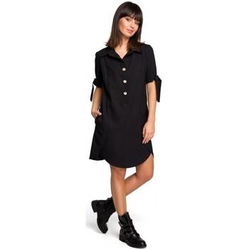 Textil Ženy Tuniky Be B112 Tunika s límcem a vázanými rukávy - černá