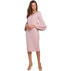 Textil Ženy Společenské šaty Makover K002 Plášťové šaty s volánkovými rukávy - krémově růžové