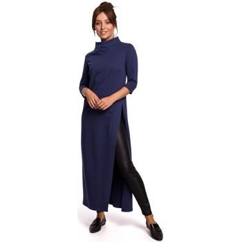 Textil Ženy Tuniky Be B163 Tunika s vysokým rozparkem - modrá