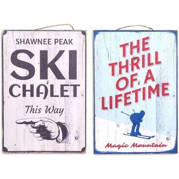 Bydlení Obrazy, plátna Signes Grimalt Nástěnná Deska Ski Set 2 U Multicolor