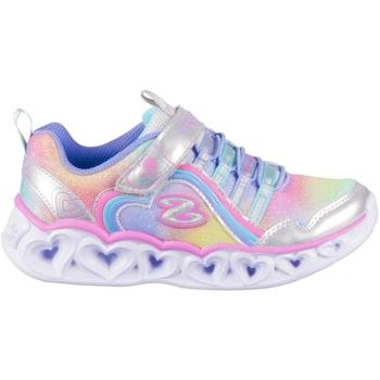 Boty Dívčí Nízké tenisky Skechers Heart Lights Rainbow Lux Stříbrné, Modré, Růžové