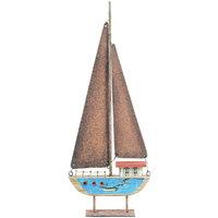 Bydlení Sošky a figurky Signes Grimalt Recyklovaný Dřevo Plachetnice Azul