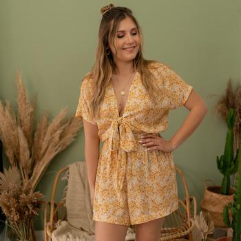 Textil Ženy Overaly / Kalhoty s laclem Céleste AZALEE Žlutá / Bílá