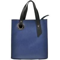 Taška Ženy Kabelky přes rameno Borse In Pelle Kožená modrá obdélníková dámská kabelka do ruky modrá