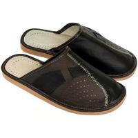 Boty Muži Papuče John-C Pánske hnedo-čierne papuče JOSEFF2 hnedá