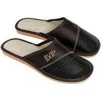 Boty Muži Papuče John-C Pánske čierno-hnedé papuče VIPMEN čierna
