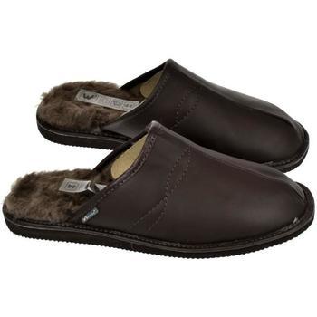 Boty Muži Papuče Just Mazzoni Pánske luxusné kožené tmavo-hnedé papuče GIGS hnedá