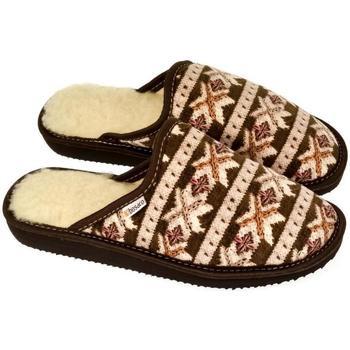 Boty Ženy Papuče John-C Dámske luxusné vlnené papuče NORWAY hnedá