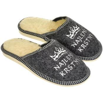 Boty Muži Papuče John-C Pánske sivé papuče NAJ KRSTNÝ tmavosivá