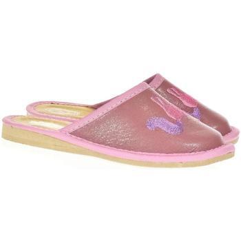 Boty Dívčí Papuče Just Mazzoni Detské ružové kožené papuče jednorožec KYARA ružová