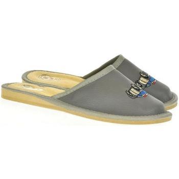 Boty Děti Papuče Just Mazzoni Detské sivé kožené papuče POLICE CAR tmavosivá