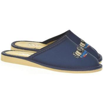 Boty Chlapecké Papuče Just Mazzoni Detské modré kožené papuče POLICE CAR tmavomodrá