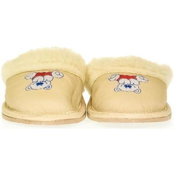 Boty Děti Papuče John-C Detské béžové kožené papuče MACKO béžová