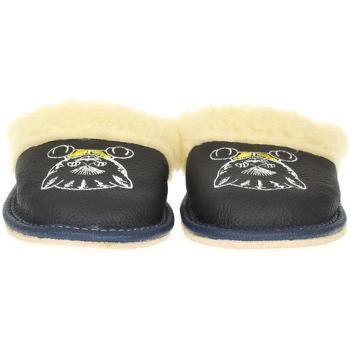 Boty Děti Papuče John-C Detské tmavo-modré kožené papuče MICA tmavomodrá
