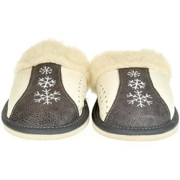 Boty Ženy Papuče John-C Dámske sivé kožené papuče NADEŽDA tmavosivá