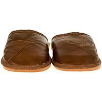 Boty Muži Papuče John-C Pánske hnedé kožené papuče EDIK hnedá