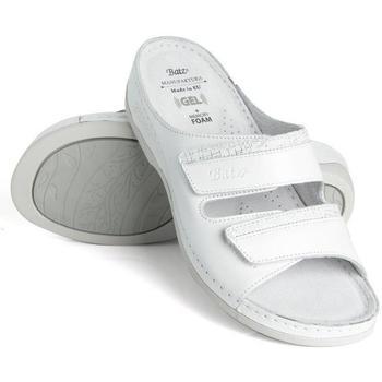 Boty Ženy Dřeváky Batz Dámske kožené biele šľapky REA biela