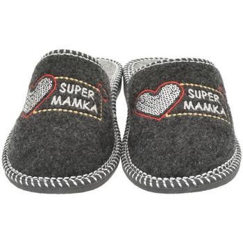 Boty Ženy Papuče Bins Dámske sivé papuče MAMKA tmavosivá