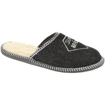 Boty Muži Papuče Bins Pánske čierne papuče SUPER BRÁCHA čierna