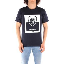 Textil Muži Trička s krátkým rukávem Blauer 21SBLUH02131 Modrá