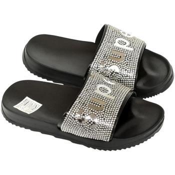 Boty Dívčí pantofle John-C Detské čierno-strieborné šľapky SUPER čierna