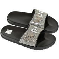 Boty Ženy pantofle John-C Dámske čierno-strieborné šľapky SUPER čierna