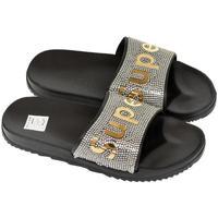 Boty Ženy pantofle John-C Dámske čierno-zlaté šľapky SUPER čierna