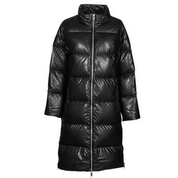 Textil Ženy Prošívané bundy MICHAEL Michael Kors LONG FAUX LTHR PUFFER Černá