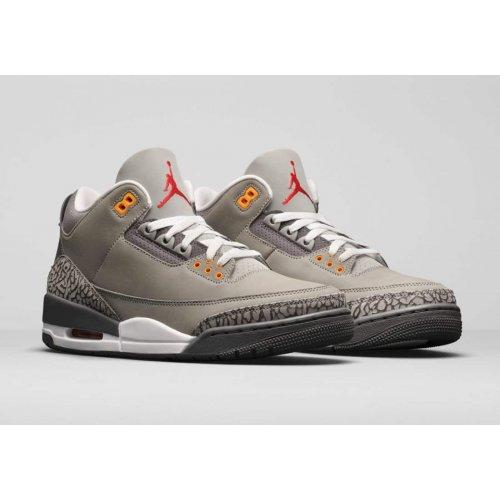 Boty Kotníkové tenisky Nike Air Jordan 3 Cool Grey Silver/Light Graphite-Orange Peel-Sport Red