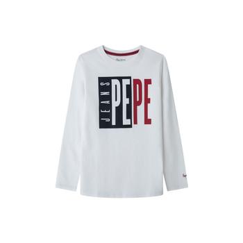 Textil Chlapecké Trička s dlouhými rukávy Pepe jeans AARON Bílá