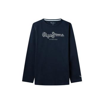 Textil Chlapecké Trička s dlouhými rukávy Pepe jeans ALDO Tmavě modrá