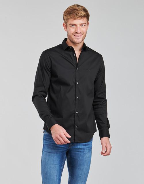Textil Muži Košile s dlouhymi rukávy Emporio Armani 8N1C09 Černá