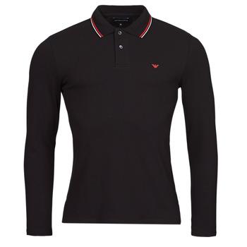 Textil Muži Polo s dlouhými rukávy Emporio Armani 8N1FB5 Černá