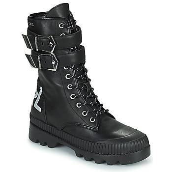 Boty Ženy Kotníkové boty Karl Lagerfeld TREKKA II HI CUFF BUCKLE BOOT Černá